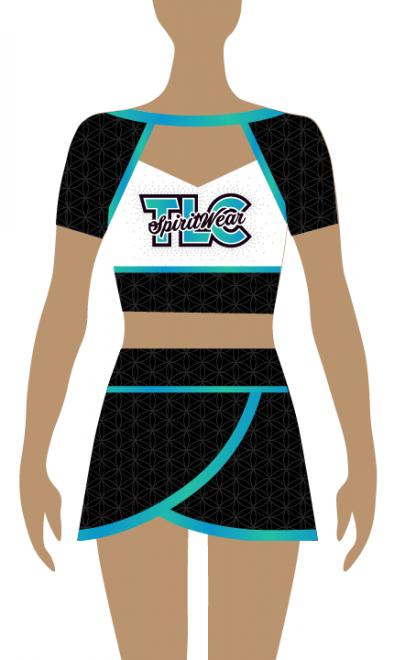 Shortsleeve Sublimation Cheerleading Uniform