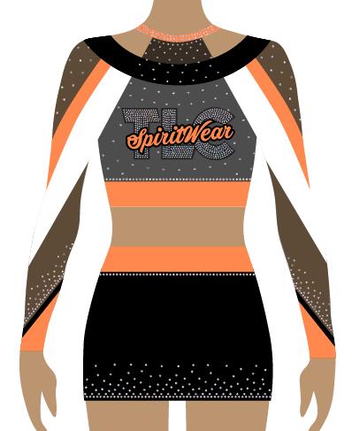 Orange Lycra Cheerleading Uniform