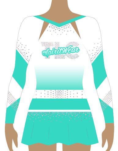 Aqua Sublimation Cheerleading Uniform