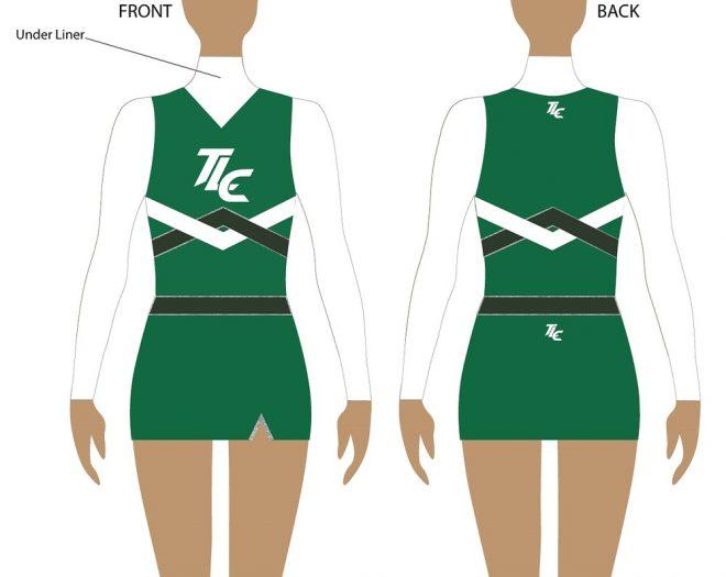 Green Polyester Cheerleading Uniform