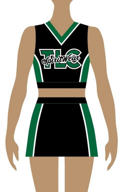 Green and black TLC cheerleader uniform