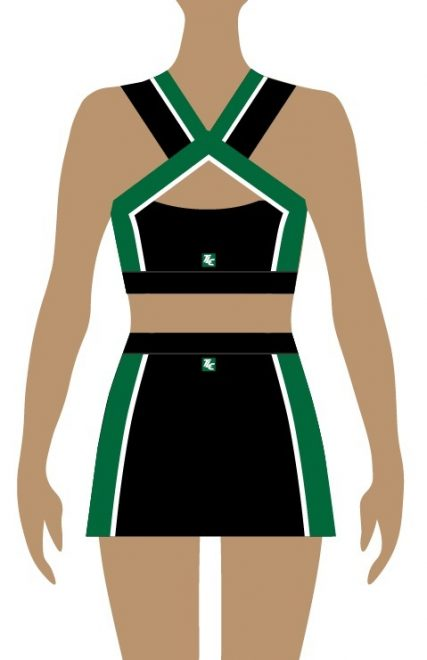 Back of green and black cheerleading unifrom