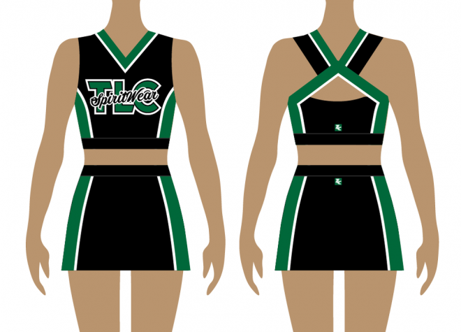 Front and back of green and black cheerleading uniform, tank top
