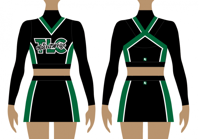 Front and back of green and black cheerleading uniform, long sleeve