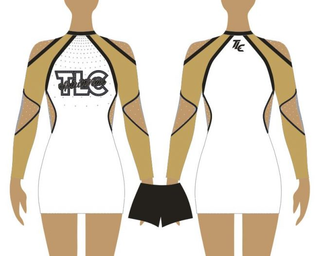 Gold Cheerleading & Dance Uniform Costume