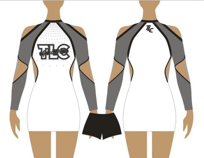 Grey Cheerleading & Dance Uniform Costume