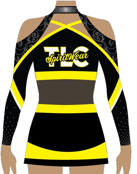 Black and yellow, long sleeve cheerleading uniform