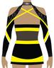 Back of yellow and black, long sleeve, cheerleading uniform