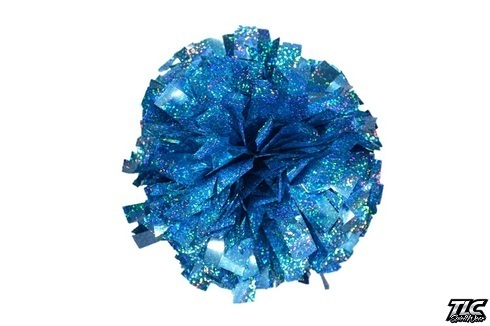 Bright Blue Hologram Cheerleading Pom Pom