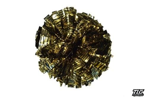 Gold Black Zebra Metallic Cheerleading Pom Pom