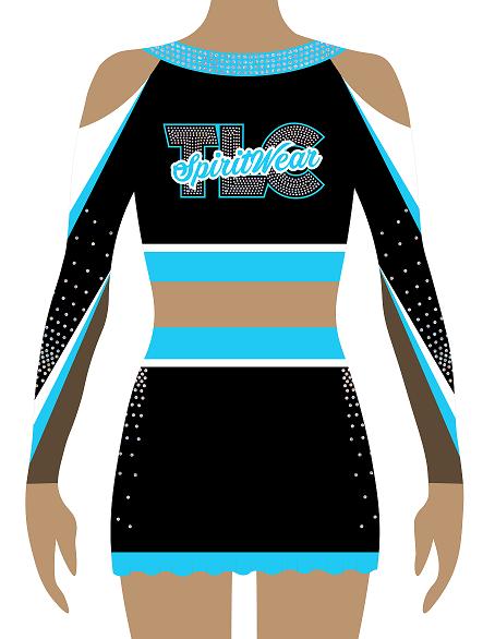 Blue Lycra Cheerleading Uniform