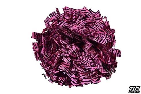 Pink Black Zebra Metallic Cheerleading Pom Pom