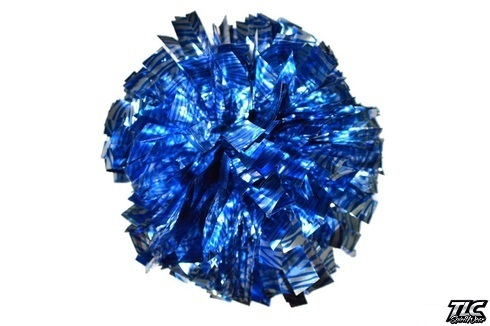 Silver Blue Zebra Metallic Cheerleading Pom Pom