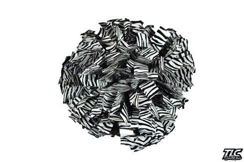 White Black Zebra Metallic Cheerleading Pom Pom